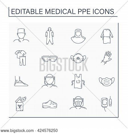 Medical Ppe Line Icons Set. Personal Protective Equipment. Barrier Between Person And Germs. Health