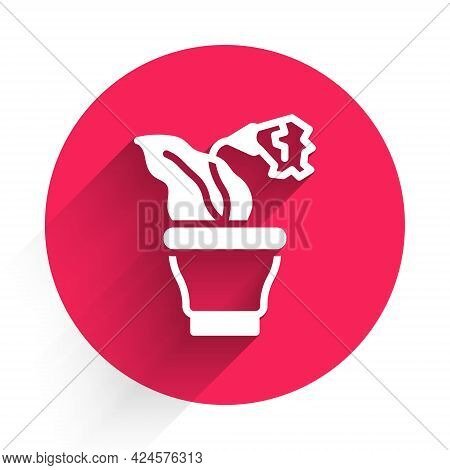 White Flower In Pot Icon Isolated With Long Shadow. Plant Growing In A Pot. Potted Plant Sign. Red C