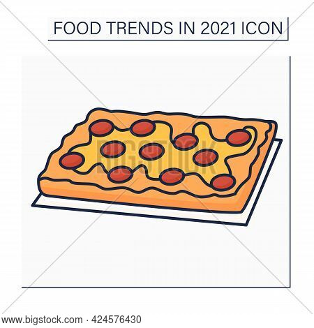 Pizza Color Icon. Detroit Style Pizza. Fast Food. Rectangular Pizza With Thick Crust.food Trends Con