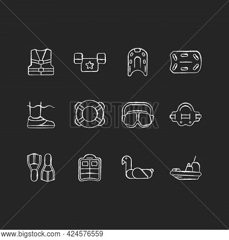 Pool Floats And Water Safety Equipment Chalk White Icons Set On Dark Background. Personal Flotation