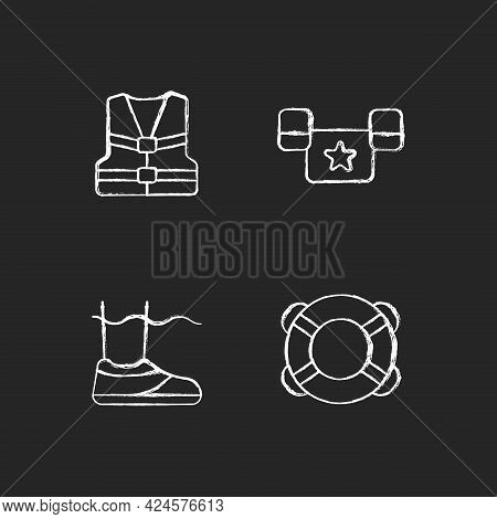 Pool Equipment Chalk White Icons Set On Dark Background. Life Jacket. Puddle Jumper. Water Shoes. Ri