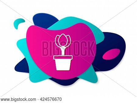 Color Flower Tulip In Pot Icon Isolated On White Background. Plant Growing In A Pot. Potted Plant Si
