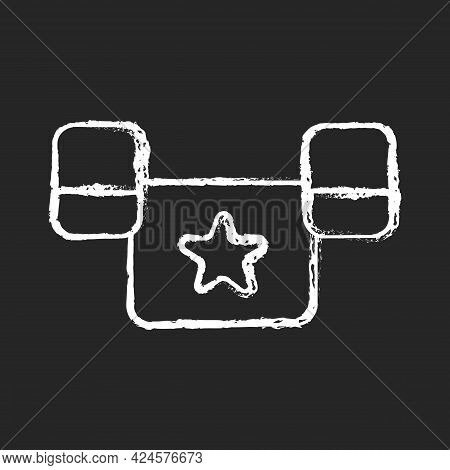 Puddle Jumper Chalk White Icon On Dark Background. Keeping Child Safe In Swimming Pool And Sea. Equi