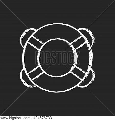 Ring Buoy Chalk White Icon On Dark Background. Life Preserver. Round Floatation Device. Assisting Be