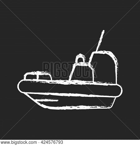 Rescue Boat Chalk White Icon On Dark Background. Lifeboat For Victims Rescuing. Survival Craft. Savi
