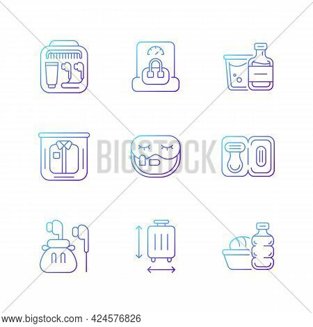 Essential Tourist Pack For Travel Gradient Linear Vector Icons Set. Packing Clothes And Compact Thin