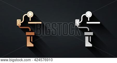 Gold And Silver Gimbal Stabilizer For Camera Icon Isolated On Black Background. Long Shadow Style. V