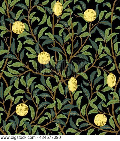 Vintage Tropical Fruit Seamless Pattern On Dark Background. Lemons In Foliage. Middle Ages William M