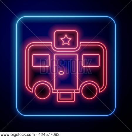 Glowing Neon Machine Trailer Dressing Room For Actors Icon Isolated On Black Background. Movie Crew