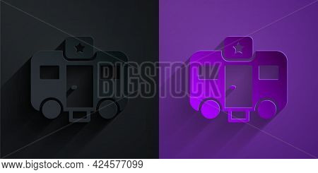 Paper Cut Machine Trailer Dressing Room For Actors Icon Isolated On Black On Purple Background. Movi