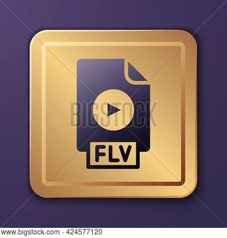 Purple Flv File Document Video File Format. Download Flv Button Icon Isolated On Purple Background.