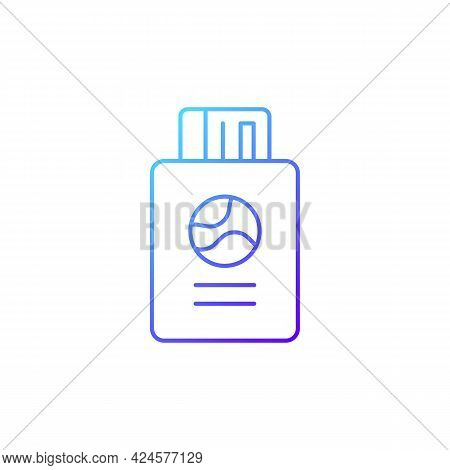 Passport With Tickets Gradient Linear Vector Icon. Citizen Document With Pass For Flight. Travel Siz