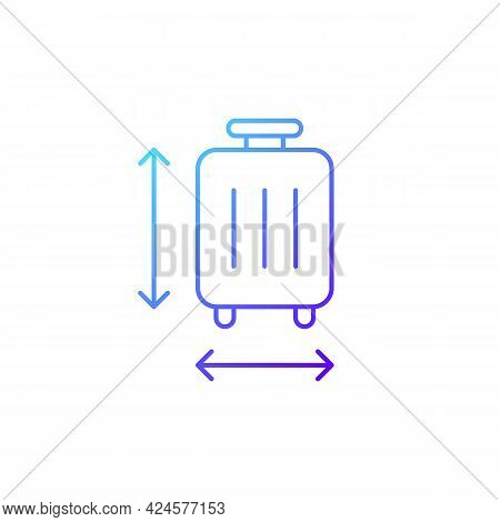 Baggage Size Gradient Linear Vector Icon. Measuring Luggage For Airport Regulation. Travel Objects.