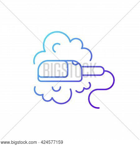 Travel Size Steam Iron Gradient Linear Vector Icon. Compact Housekeeping Appliance. Portable Device.
