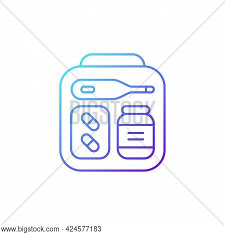 Mini First Aid Kit Gradient Linear Vector Icon. Emergency Bag With Medication For Trip. Travel Size