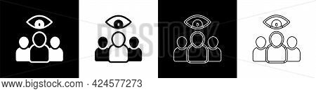 Set Spy, Agent Icon Isolated On Black And White Background. Spying On People. Vector