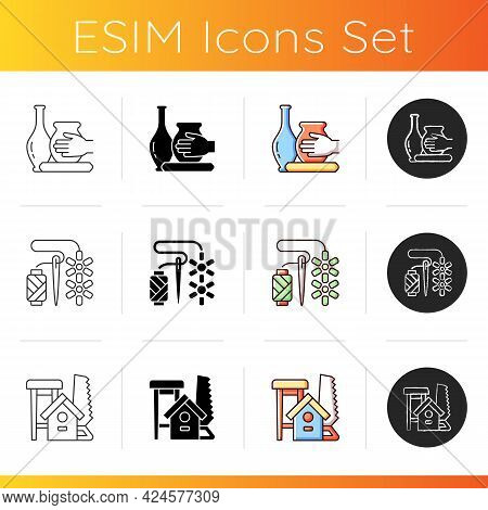 Trendy Crafts Icons Set. Handmade Pottery. Beadwork. Wood Carving. Ceramic Vessels Creation. Attachi