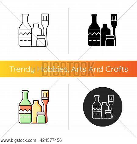 Bottle Painting Icon. Home Decor. Repurposed Wine Bottles. Flower Homemade Vases. Glass-painting Pro