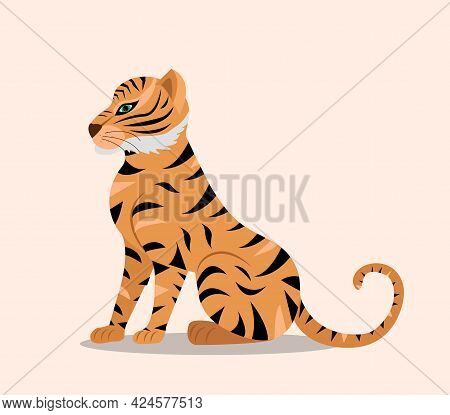 Tiger Flat Cartoon Style. Year Of The Tiger Chinese New Year 2022. Vector Illustration