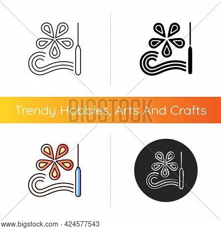 Paper Quilling Icon. Creating Decorative Designs. Using Slotted Tool. Rolling And Gluing Pieces Toge