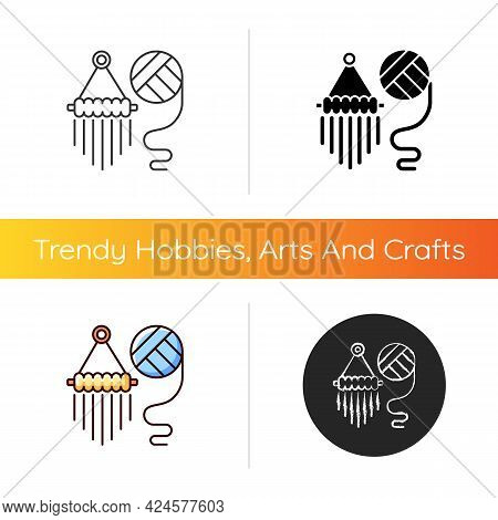 Yarn Wall Hangings Icon. Boho Style. Handmade Pieces For Decoration. Hanging Planters Creating. Macr