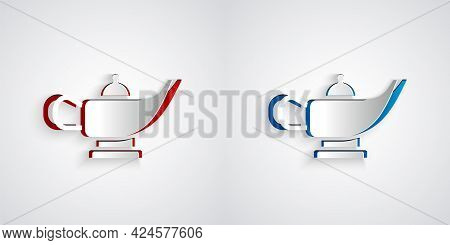 Paper Cut Magic Lamp Or Aladdin Lamp Icon Isolated On Grey Background. Spiritual Lamp For Wish. Pape