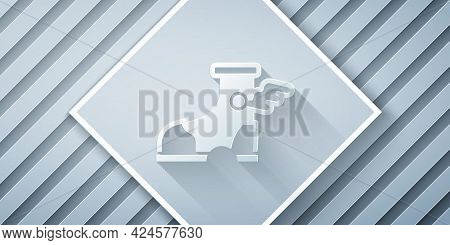 Paper Cut Hermes Sandal Icon Isolated On Grey Background. Ancient Greek God Hermes. Running Shoe Wit
