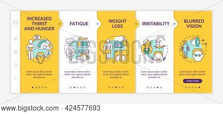 Diabetes Symptoms Onboarding Vector Template. Responsive Mobile Website With Icons. Web Page Walkthr