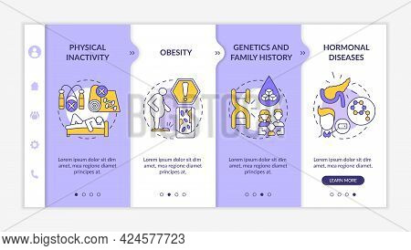 Diabetes Causes Onboarding Vector Template. Responsive Mobile Website With Icons. Web Page Walkthrou