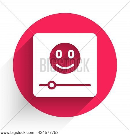 White Music Player Icon Isolated With Long Shadow. Portable Music Device. Red Circle Button. Vector