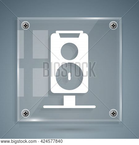 White Stereo Speaker Icon Isolated On Grey Background. Sound System Speakers. Music Icon. Musical Co