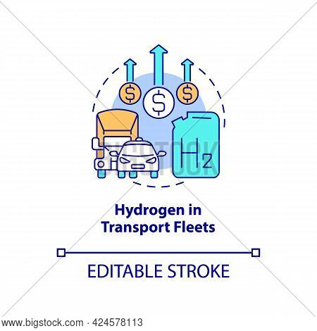 Hydrogen In Transport Fleets Concept Icon. Delivering Fuel Process Abstract Idea Thin Line Illustrat