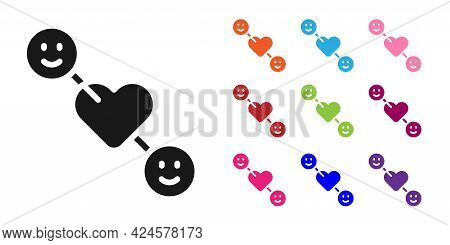 Black Romantic Relationship Icon Isolated On White Background. Romantic Relationship Or Pleasant Mee