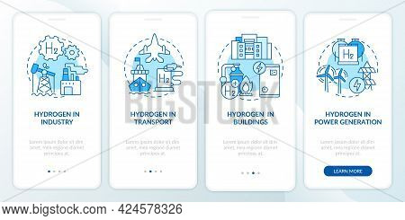 Hydrogen Usage Onboarding Mobile App Page Screen. Industrial Sector Sector Walkthrough 4 Steps Graph