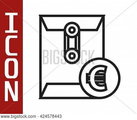 Black Line Envelope With Euro Symbol Icon Isolated On White Background. Salary Increase, Money Payro
