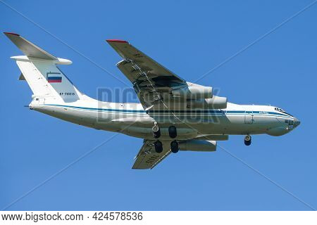 Saint Petersburg - May 29, 2021: Heavy Military Transport Aircraft Il-76md (rf-76615) On A Glide Pat