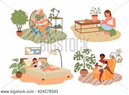 Healthy Breastfeeding, Happy Mothers Day Set, Mom With Newborn Kid Sitting Together