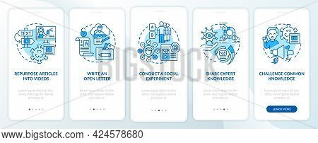 Buzzworthy Content Methods Onboarding Mobile App Page Screen. Repurpose Into Video Walkthrough 5 Ste