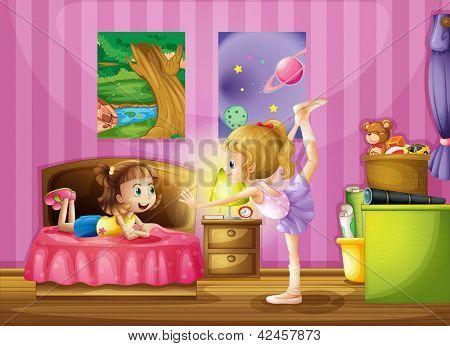 Girls dancing in a bedroom