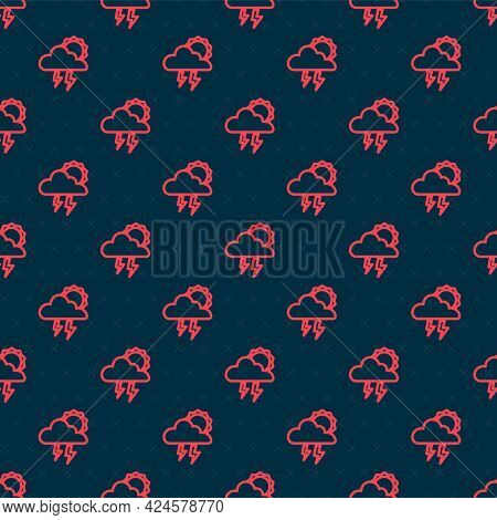 Red Line Storm Icon Isolated Seamless Pattern On Black Background. Cloud With Lightning And Sun Sign