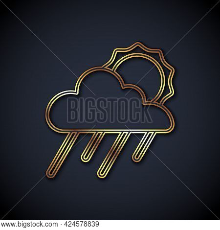 Gold Line Cloud With Rain And Sun Icon Isolated On Black Background. Rain Cloud Precipitation With R