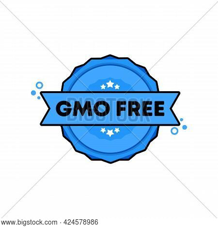 Gmo Free Stamp. Vector. Gmo Free Badge Icon. Certified Badge Logo. Stamp Template. Label, Sticker, I