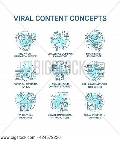 Viral Content Concept Icons Set. Focus On Trending Topics Idea Thin Line Color Illustrations. Analys
