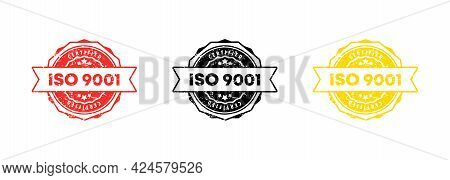Iso 9001 Stamp. Vector. Iso 9001 Badge Icon. Certified Badge Logo. Stamp Template. Label, Sticker, I