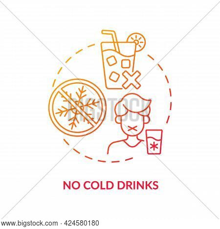 No Cold Drinks Concept Icon. Heatstroke Prevention Abstract Idea Thin Line Illustration. Rehydration