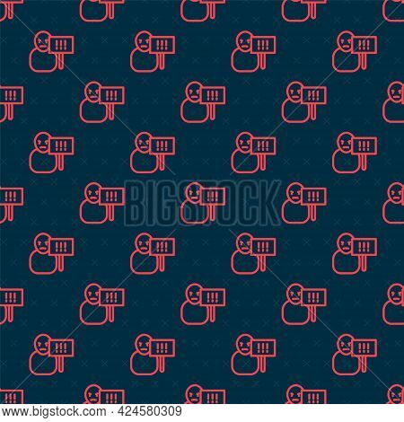 Red Line Protest Icon Isolated Seamless Pattern On Black Background. Meeting, Protester, Picket, Spe