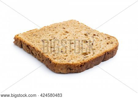 Sliced wholegrain bread isolated on white background.