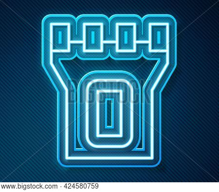 Glowing Neon Line Castle Tower Icon Isolated On Blue Background. Fortress Sign. Vector