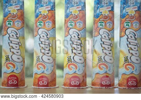 Samut Prakan, Thailand - June 23, 2021 : The New Wall\'s Calippo With Vitamin C. Wall's Calippo In T