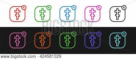 Set Line Online Church Pastor Preaching Video Streaming Icon Isolated On Black And White Background.